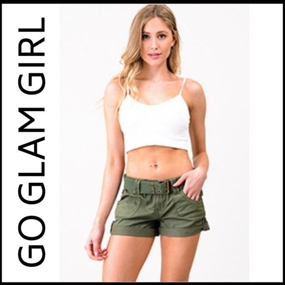 Glam Girl Fashion Pants - NWT Olive Green Military Cargo Shorts, 11
